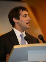 Evan Harris MP on conference podium