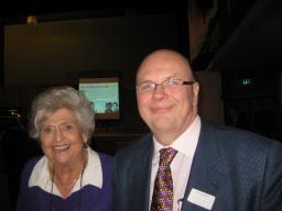 Claire Rayner with LDHS Chair Arnie Gibbons earlier this year